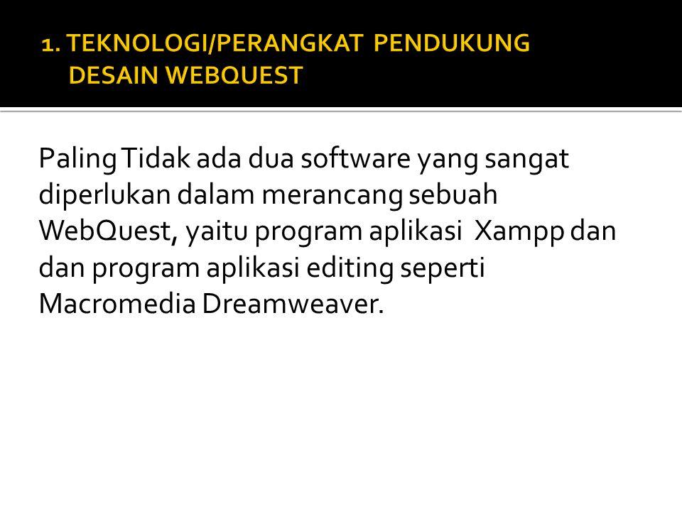 Paling Tidak ada dua software yang sangat diperlukan dalam merancang sebuah WebQuest, yaitu program aplikasi Xampp dan dan program aplikasi editing seperti Macromedia Dreamweaver.