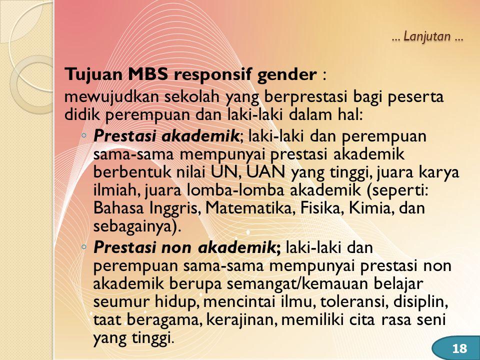 ... Lanjutan... Tujuan MBS responsif gender : mewujudkan sekolah yang berprestasi bagi peserta didik perempuan dan laki-laki dalam hal: ◦ Prestasi aka