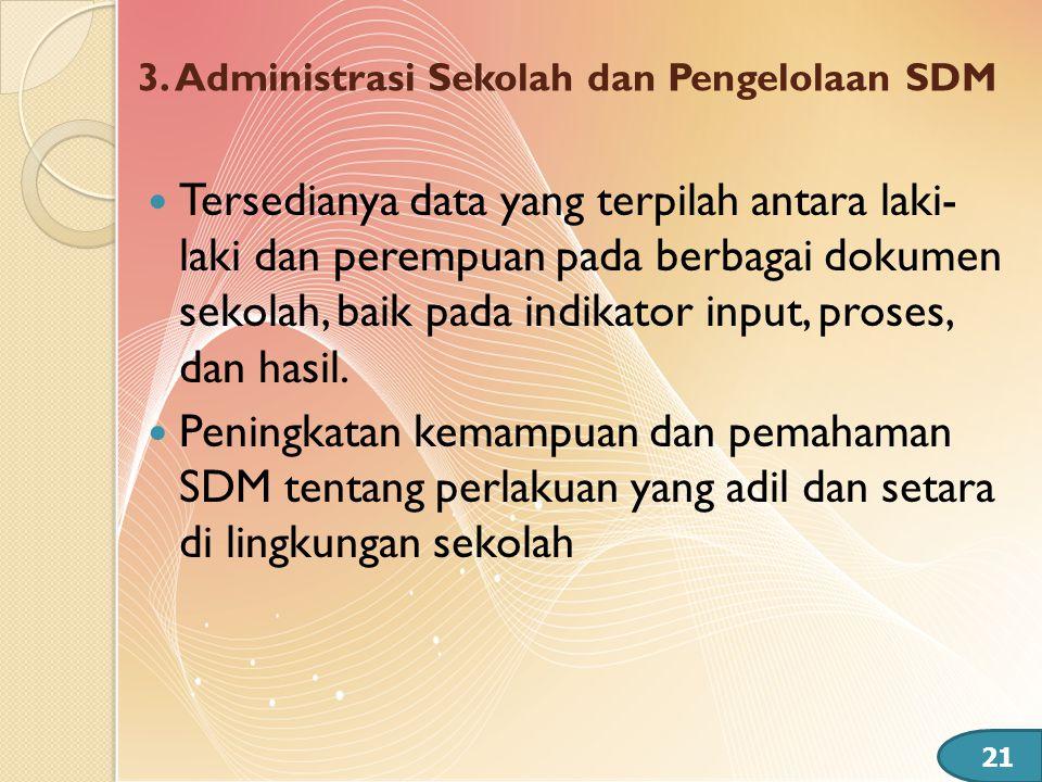 3. Administrasi Sekolah dan Pengelolaan SDM  Tersedianya data yang terpilah antara laki- laki dan perempuan pada berbagai dokumen sekolah, baik pada
