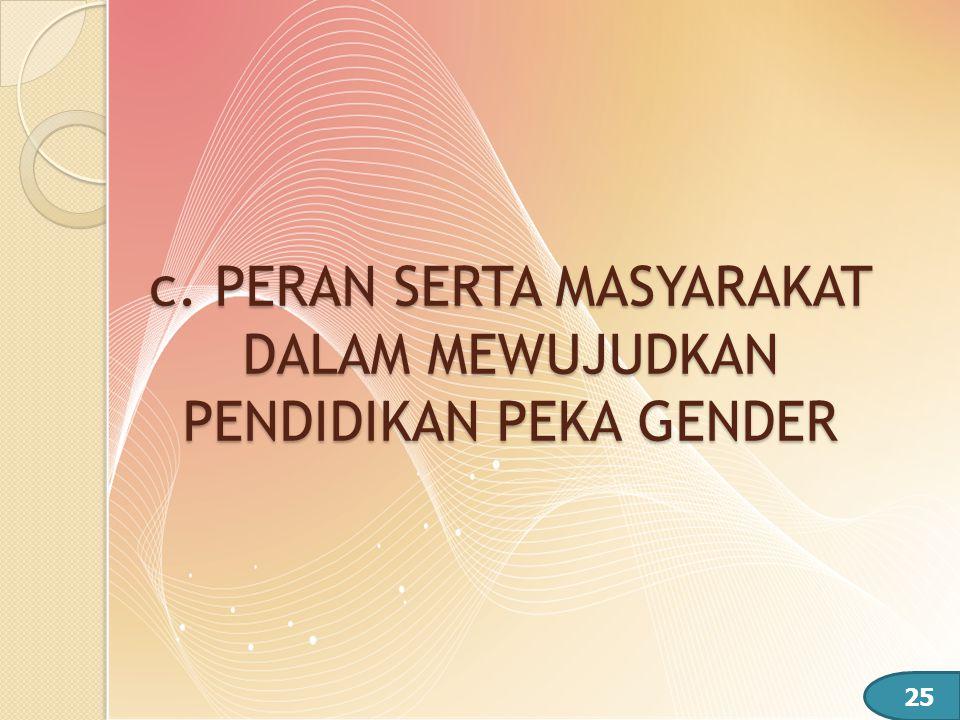 c. PERAN SERTA MASYARAKAT DALAM MEWUJUDKAN PENDIDIKAN PEKA GENDER 25