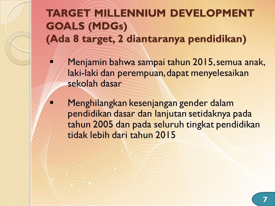 TARGET MILLENNIUM DEVELOPMENT GOALS (MDGs) (Ada 8 target, 2 diantaranya pendidikan)  Menjamin bahwa sampai tahun 2015, semua anak, laki-laki dan pere