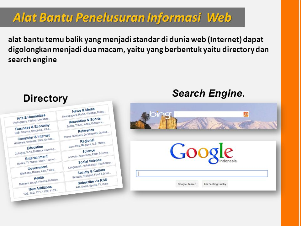 alat bantu temu balik yang menjadi standar di dunia web (Internet) dapat digolongkan menjadi dua macam, yaitu yang berbentuk yaitu directory dan searc