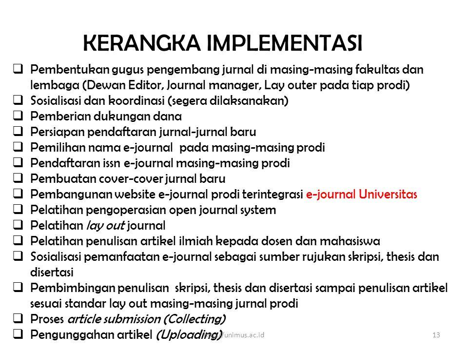  Pembentukan gugus pengembang jurnal di masing-masing fakultas dan lembaga (Dewan Editor, Journal manager, Lay outer pada tiap prodi)  Sosialisasi d