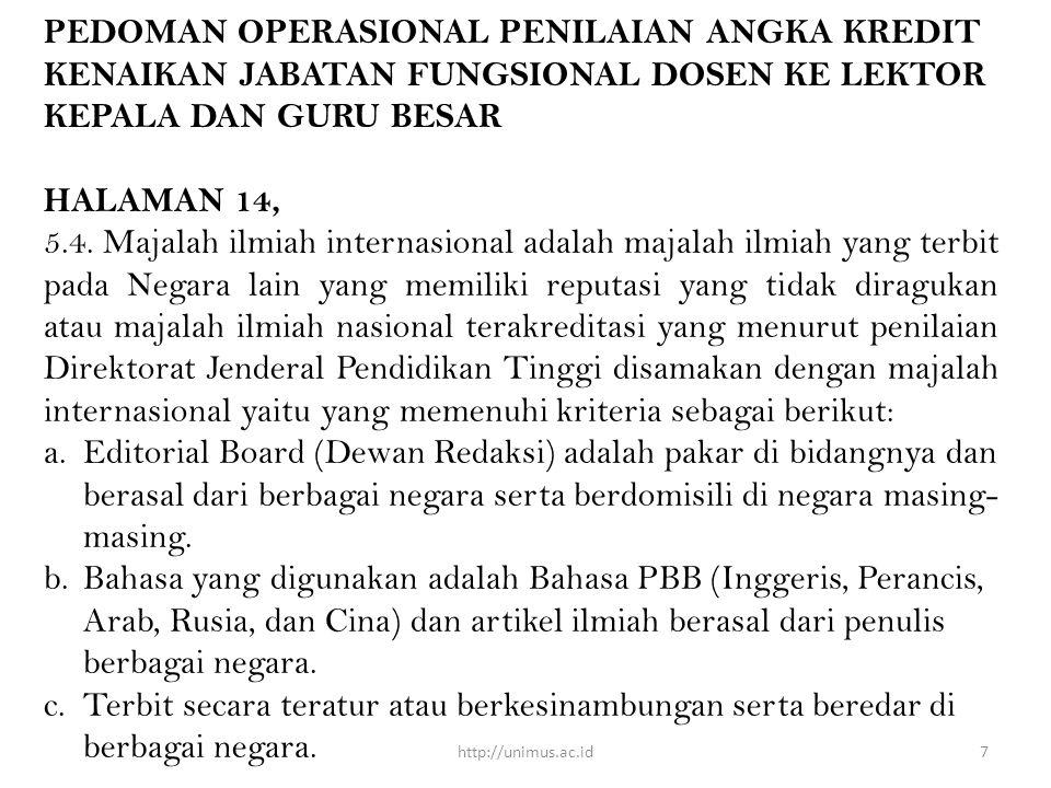 PEDOMAN OPERASIONAL PENILAIAN ANGKA KREDIT KENAIKAN JABATAN FUNGSIONAL DOSEN KE LEKTOR KEPALA DAN GURU BESAR HALAMAN 14, 5.4.
