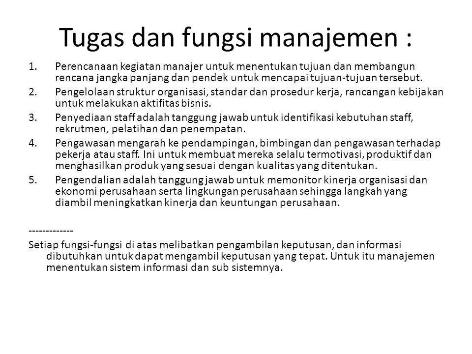 Tugas dan fungsi manajemen : 1.Perencanaan kegiatan manajer untuk menentukan tujuan dan membangun rencana jangka panjang dan pendek untuk mencapai tuj