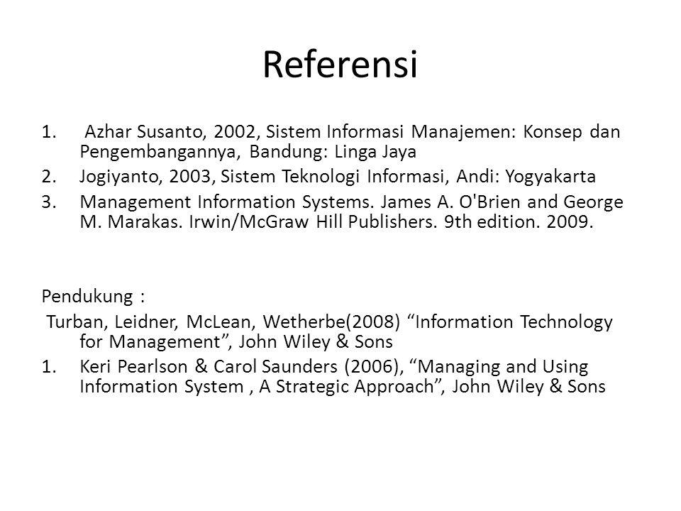Referensi 1. Azhar Susanto, 2002, Sistem Informasi Manajemen: Konsep dan Pengembangannya, Bandung: Linga Jaya 2.Jogiyanto, 2003, Sistem Teknologi Info
