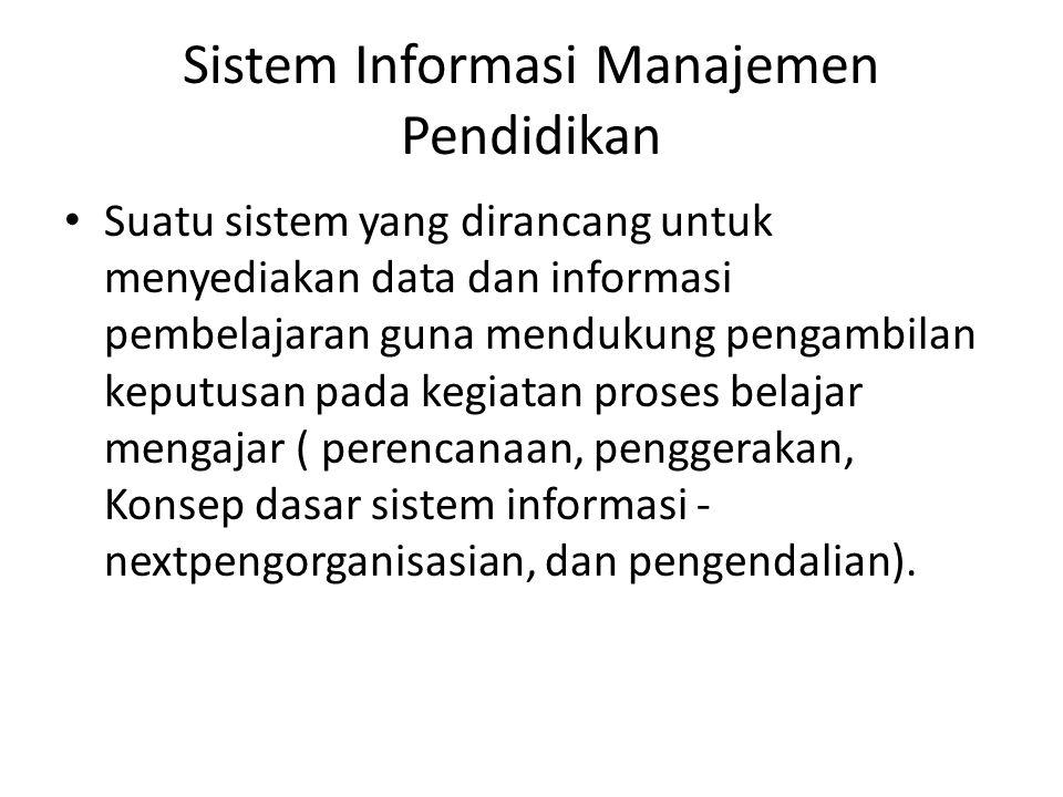 Sistem Informasi Manajemen Pendidikan • Suatu sistem yang dirancang untuk menyediakan data dan informasi pembelajaran guna mendukung pengambilan keput