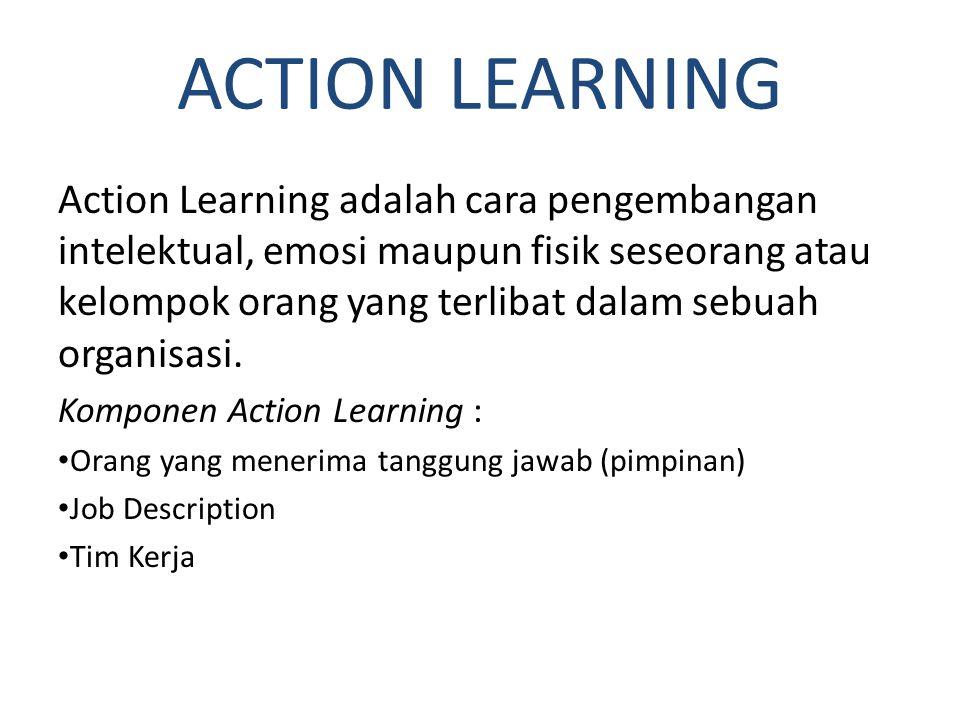 ACTION LEARNING Action Learning adalah cara pengembangan intelektual, emosi maupun fisik seseorang atau kelompok orang yang terlibat dalam sebuah orga