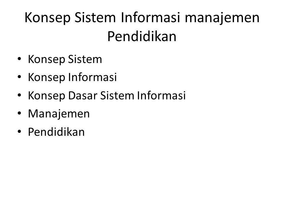 Konsep Sistem Informasi manajemen Pendidikan • Konsep Sistem • Konsep Informasi • Konsep Dasar Sistem Informasi • Manajemen • Pendidikan