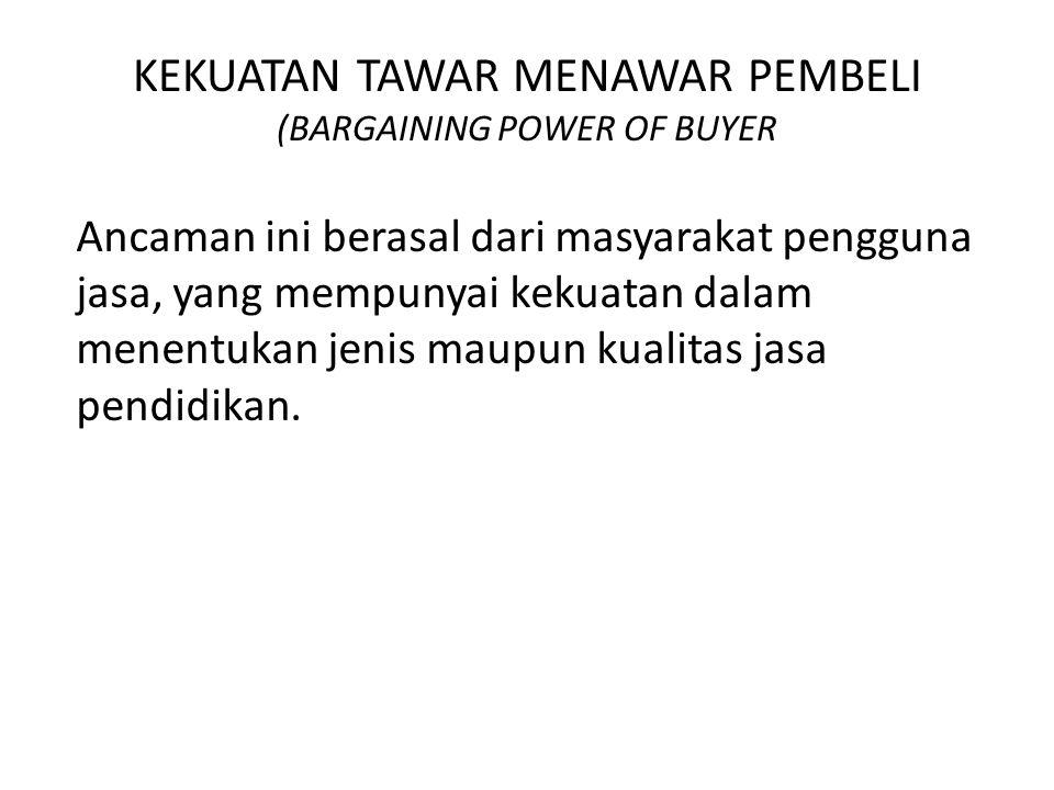 KEKUATAN TAWAR MENAWAR PEMBELI (BARGAINING POWER OF BUYER Ancaman ini berasal dari masyarakat pengguna jasa, yang mempunyai kekuatan dalam menentukan