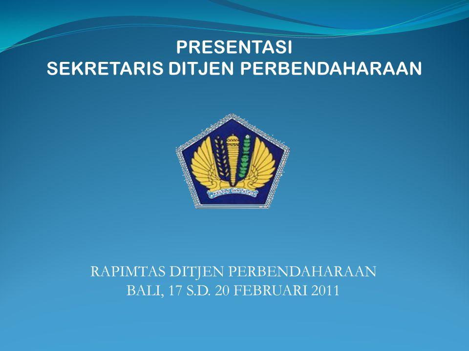 PRESENTASI SEKRETARIS DITJEN PERBENDAHARAAN RAPIMTAS DITJEN PERBENDAHARAAN BALI, 17 S.D. 20 FEBRUARI 2011