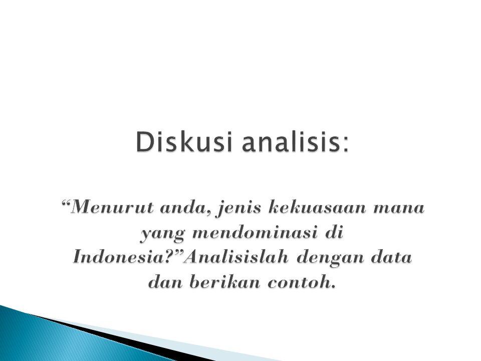 """Diskusi analisis: """"Menurut anda, jenis kekuasaan mana yang mendominasi di Indonesia?""""Analisislah dengan data dan berikan contoh."""