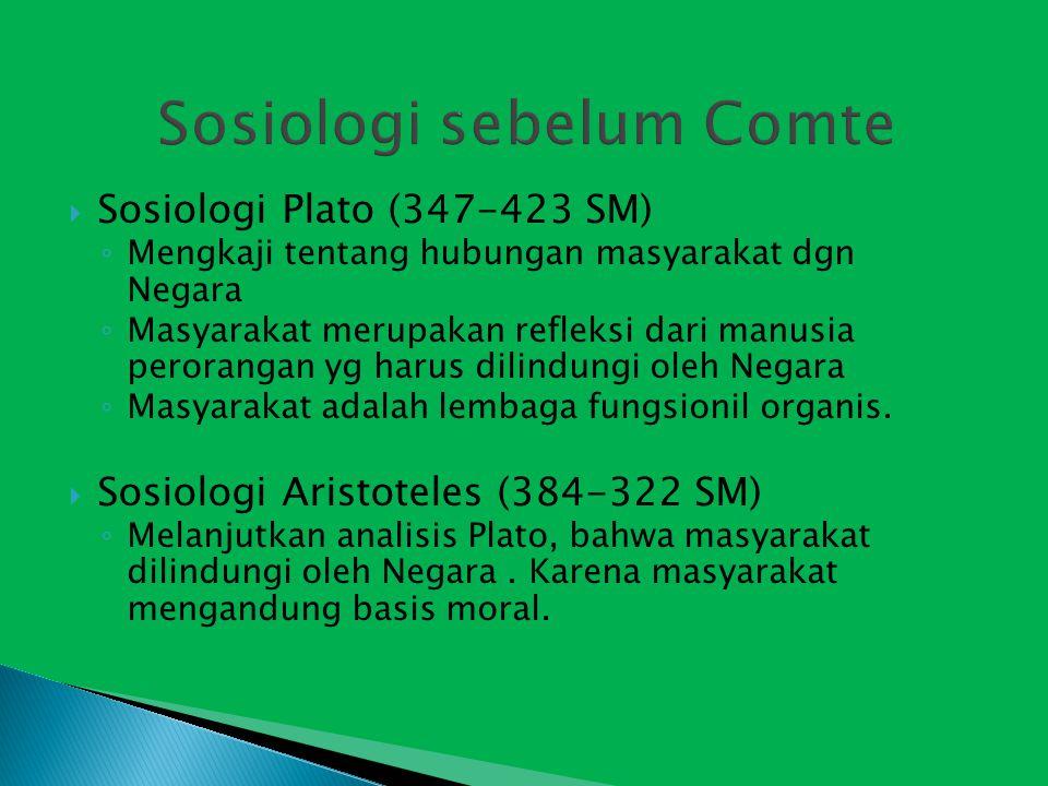  Sosiologi Plato (347-423 SM) ◦ Mengkaji tentang hubungan masyarakat dgn Negara ◦ Masyarakat merupakan refleksi dari manusia perorangan yg harus dilindungi oleh Negara ◦ Masyarakat adalah lembaga fungsionil organis.