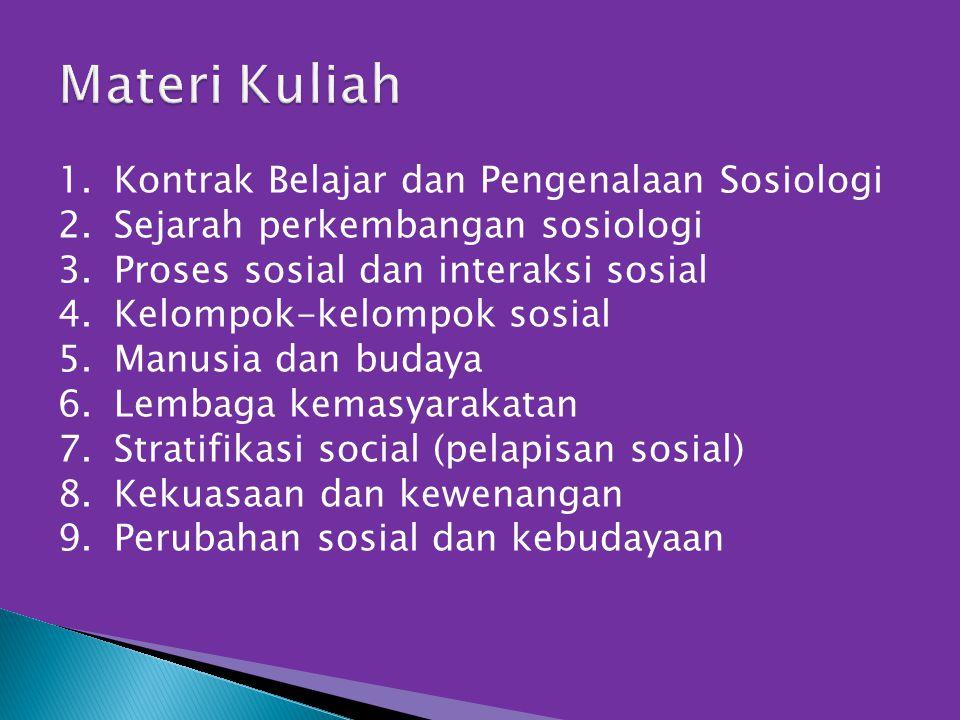 1.Kontrak Belajar dan Pengenalaan Sosiologi 2.Sejarah perkembangan sosiologi 3.Proses sosial dan interaksi sosial 4.Kelompok-kelompok sosial 5.Manusia