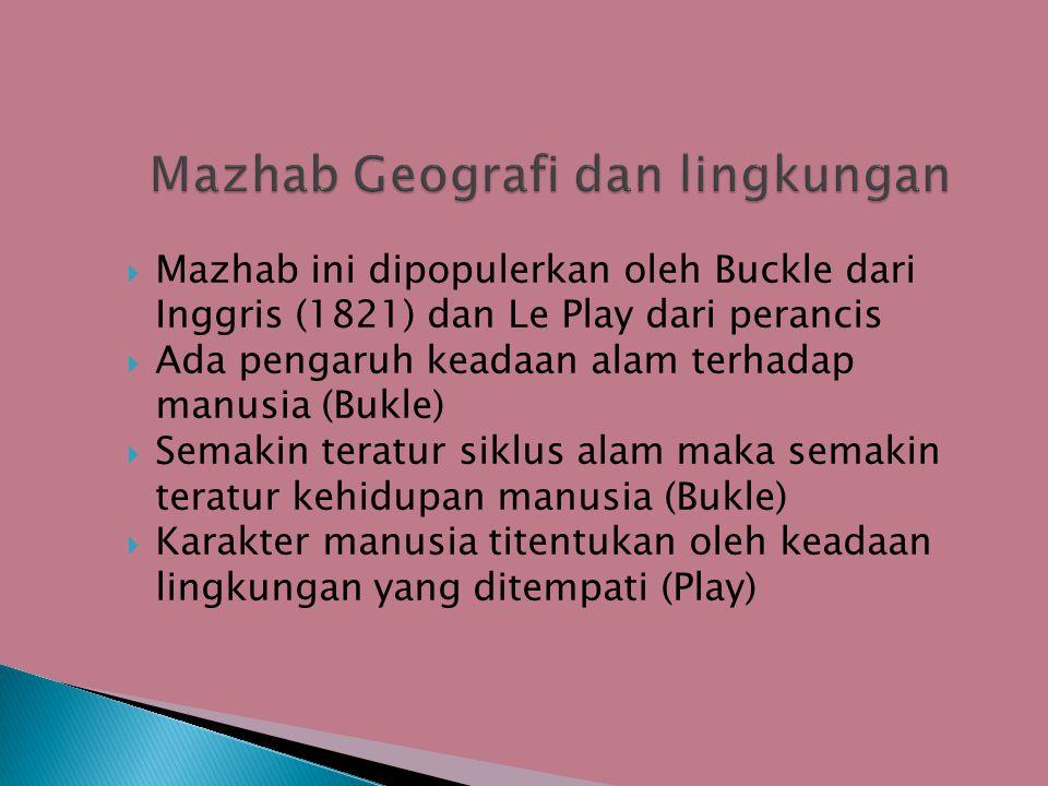  Mazhab ini dipopulerkan oleh Buckle dari Inggris (1821) dan Le Play dari perancis  Ada pengaruh keadaan alam terhadap manusia (Bukle)  Semakin teratur siklus alam maka semakin teratur kehidupan manusia (Bukle)  Karakter manusia titentukan oleh keadaan lingkungan yang ditempati (Play)