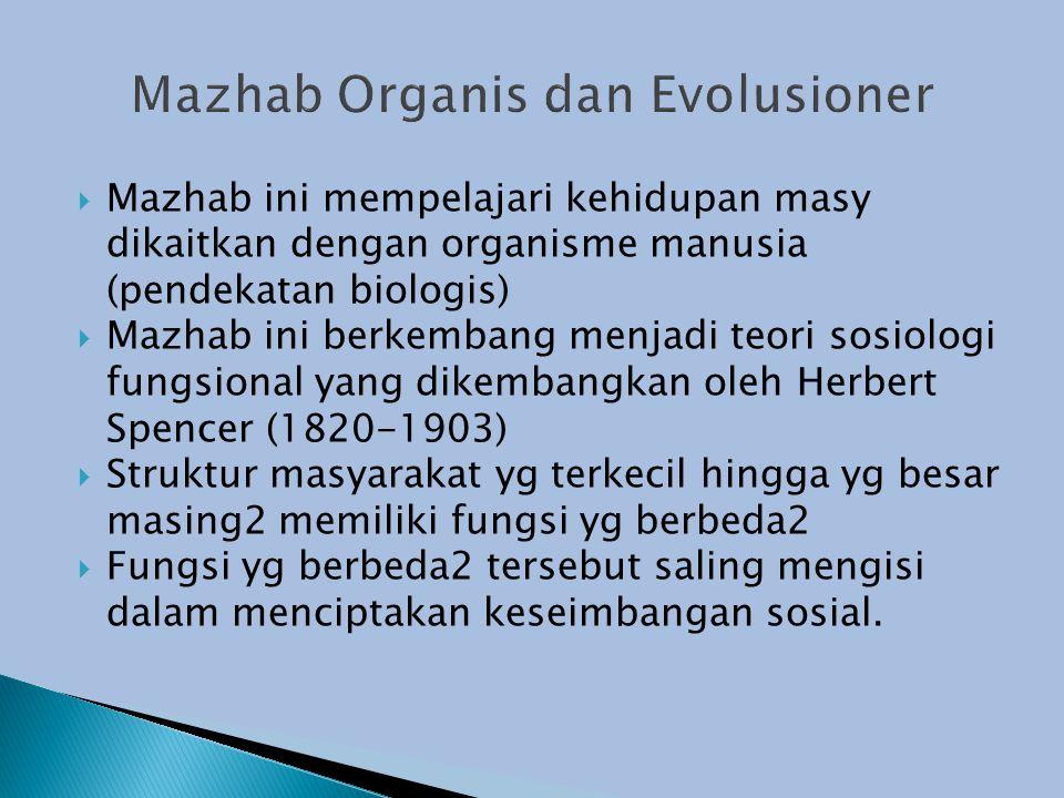  Mazhab ini mempelajari kehidupan masy dikaitkan dengan organisme manusia (pendekatan biologis)  Mazhab ini berkembang menjadi teori sosiologi fungsional yang dikembangkan oleh Herbert Spencer (1820-1903)  Struktur masyarakat yg terkecil hingga yg besar masing2 memiliki fungsi yg berbeda2  Fungsi yg berbeda2 tersebut saling mengisi dalam menciptakan keseimbangan sosial.