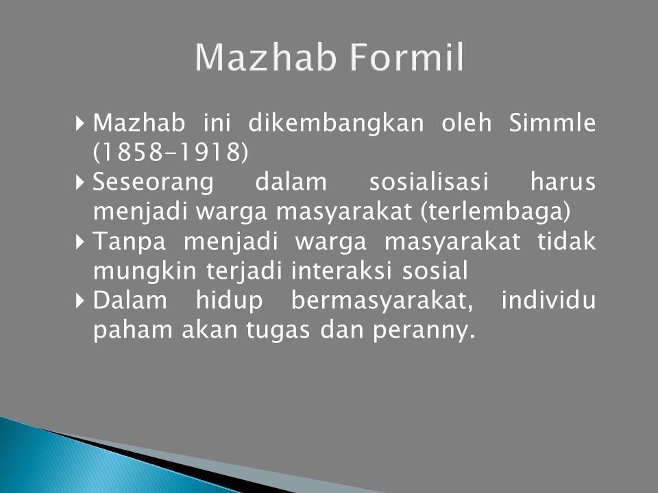  Mazhab ini dikembangkan oleh Simmle (1858-1918)  Seseorang dalam sosialisasi harus menjadi warga masyarakat (terlembaga)  Tanpa menjadi warga masyarakat tidak mungkin terjadi interaksi sosial  Dalam hidup bermasyarakat, individu paham akan tugas dan peranny.