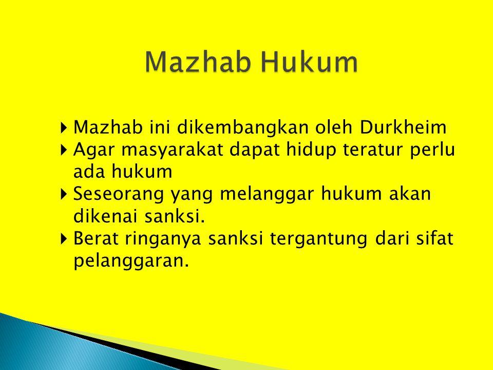  Mazhab ini dikembangkan oleh Durkheim  Agar masyarakat dapat hidup teratur perlu ada hukum  Seseorang yang melanggar hukum akan dikenai sanksi. 