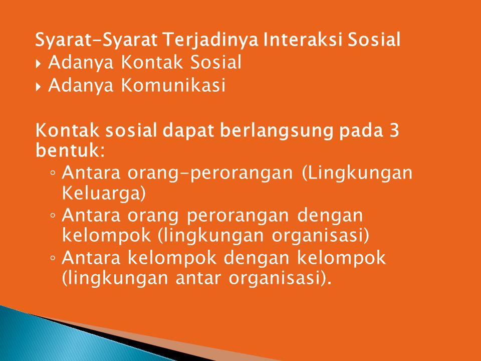 Syarat-Syarat Terjadinya Interaksi Sosial  Adanya Kontak Sosial  Adanya Komunikasi Kontak sosial dapat berlangsung pada 3 bentuk: ◦ Antara orang-per
