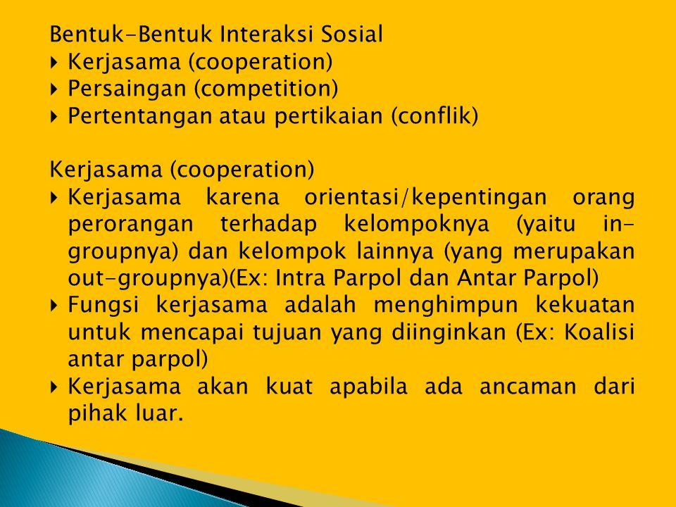 Bentuk-Bentuk Interaksi Sosial  Kerjasama (cooperation)  Persaingan (competition)  Pertentangan atau pertikaian (conflik) Kerjasama (cooperation) 
