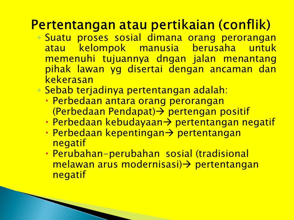 Pertentangan atau pertikaian (conflik) ◦ Suatu proses sosial dimana orang perorangan atau kelompok manusia berusaha untuk memenuhi tujuannya dngan jal