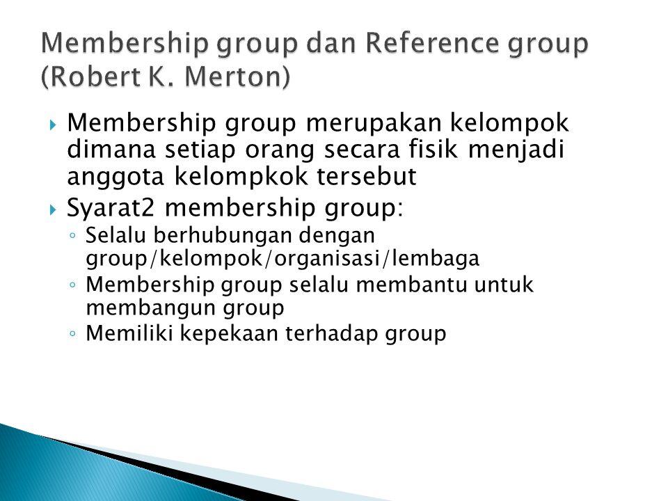  Membership group merupakan kelompok dimana setiap orang secara fisik menjadi anggota kelompkok tersebut  Syarat2 membership group: ◦ Selalu berhubungan dengan group/kelompok/organisasi/lembaga ◦ Membership group selalu membantu untuk membangun group ◦ Memiliki kepekaan terhadap group