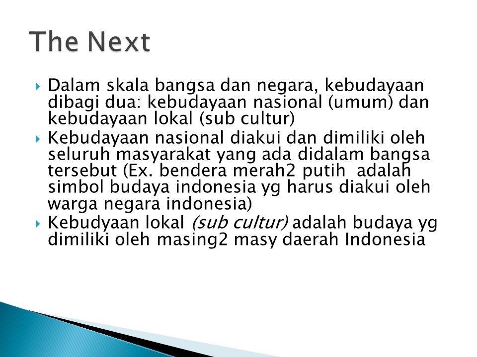  Dalam skala bangsa dan negara, kebudayaan dibagi dua: kebudayaan nasional (umum) dan kebudayaan lokal (sub cultur)  Kebudayaan nasional diakui dan