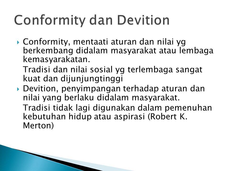  Conformity, mentaati aturan dan nilai yg berkembang didalam masyarakat atau lembaga kemasyarakatan. Tradisi dan nilai sosial yg terlembaga sangat ku