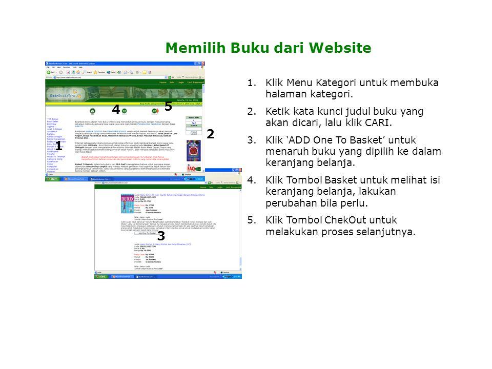 Memilih Buku dari Website 1 2 3 4 5 1.Klik Menu Kategori untuk membuka halaman kategori.