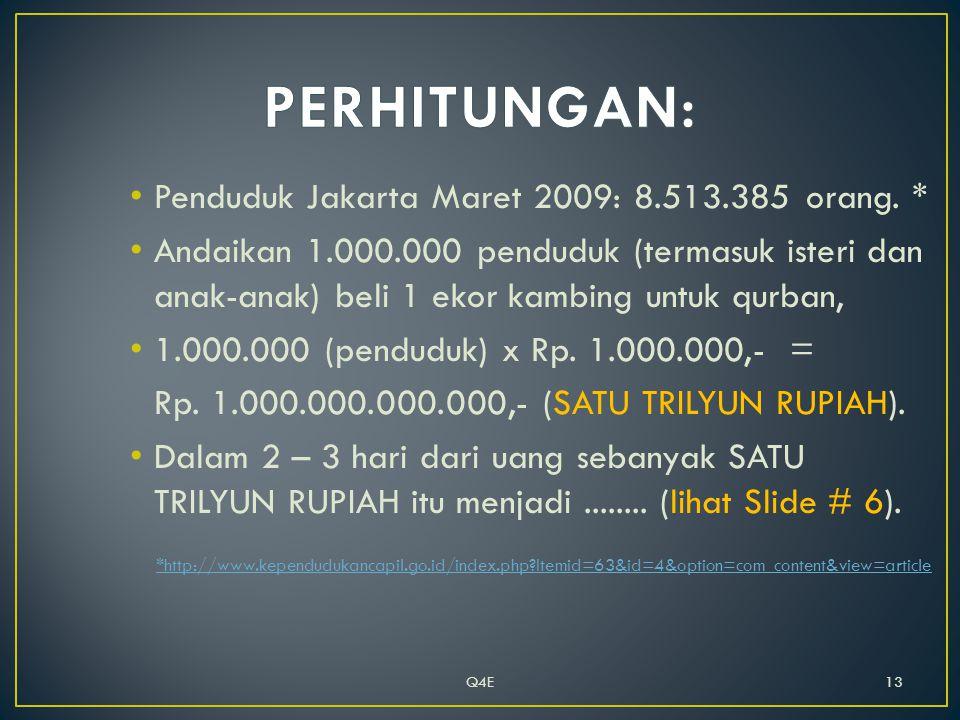 • Penduduk Jakarta Maret 2009: 8.513.385 orang.