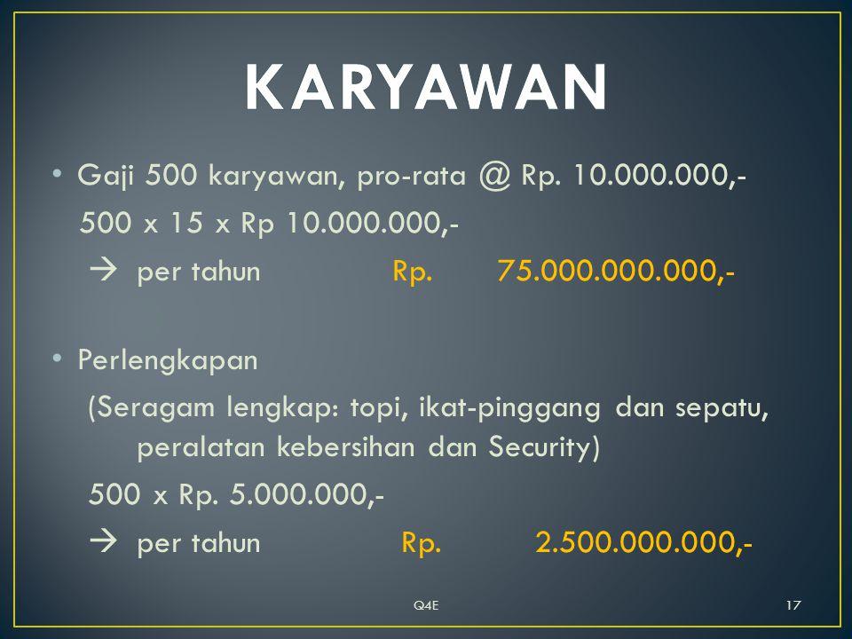 • Gaji 500 karyawan, pro-rata @ Rp. 10.000.000,- 500 x 15 x Rp 10.000.000,-  per tahun Rp.