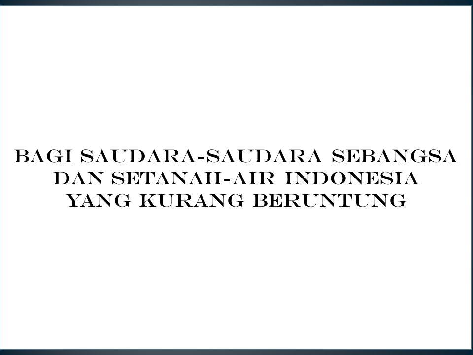 Q4E5 BAGI SAUDARA-saudara seBANGSA DAN SETANAH-AIR indonesia yang kurang beruntunG