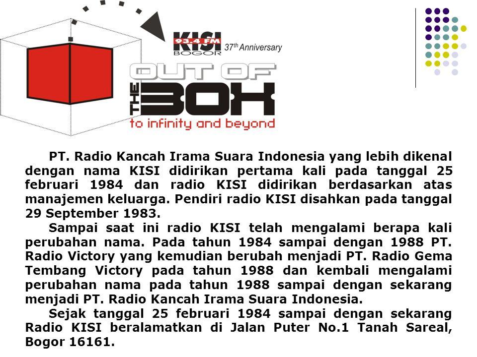Profile PT. Radio Kancah Irama Suara Indonesia yang lebih dikenal dengan nama KISI didirikan pertama kali pada tanggal 25 februari 1984 dan radio KISI