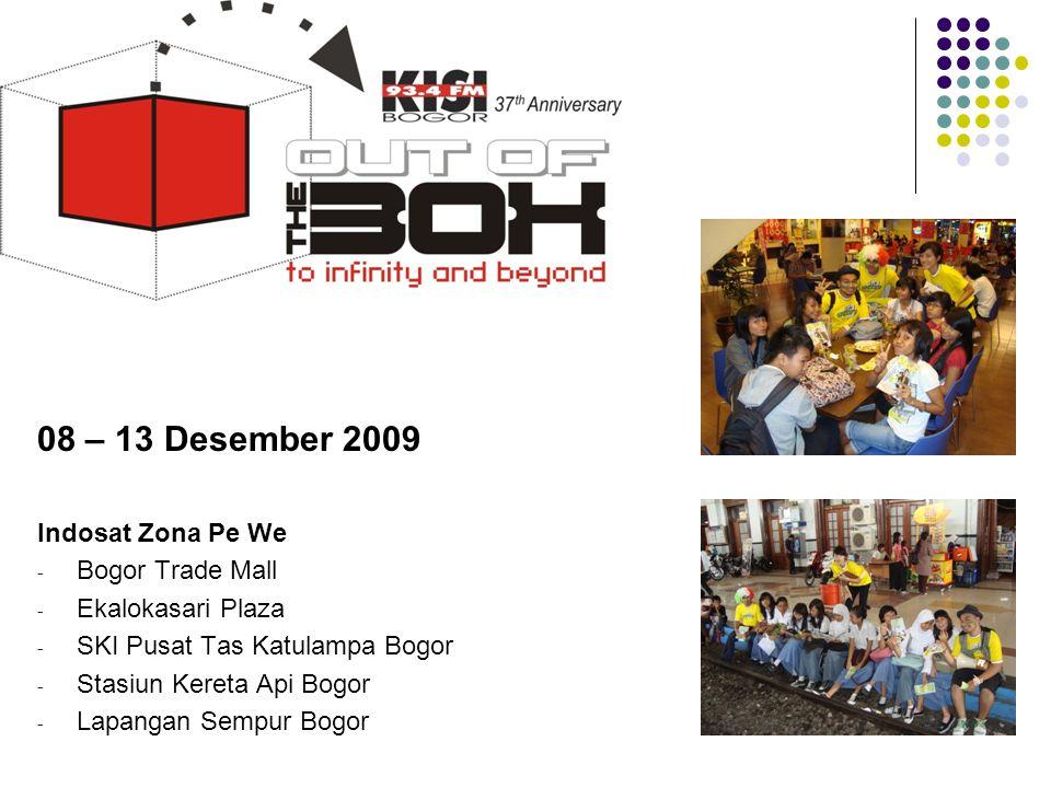 08 – 13 Desember 2009 Indosat Zona Pe We - Bogor Trade Mall - Ekalokasari Plaza - SKI Pusat Tas Katulampa Bogor - Stasiun Kereta Api Bogor - Lapangan