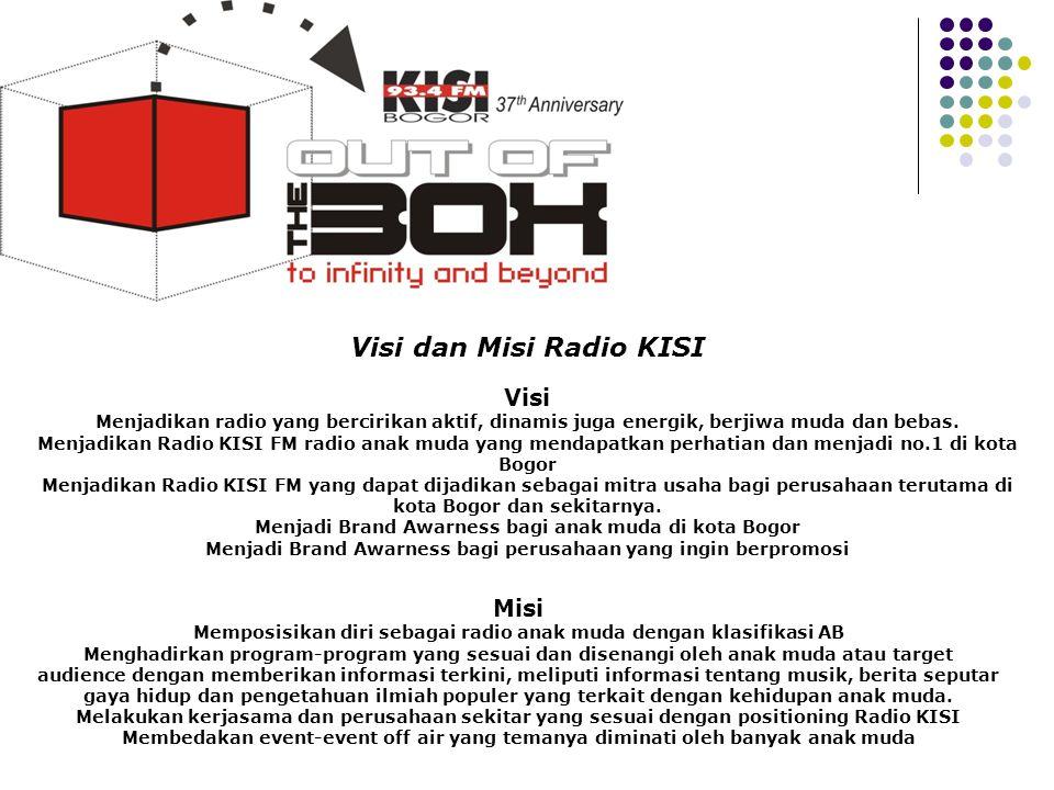 Visi dan Misi Radio KISI Visi Menjadikan radio yang bercirikan aktif, dinamis juga energik, berjiwa muda dan bebas. Menjadikan Radio KISI FM radio ana