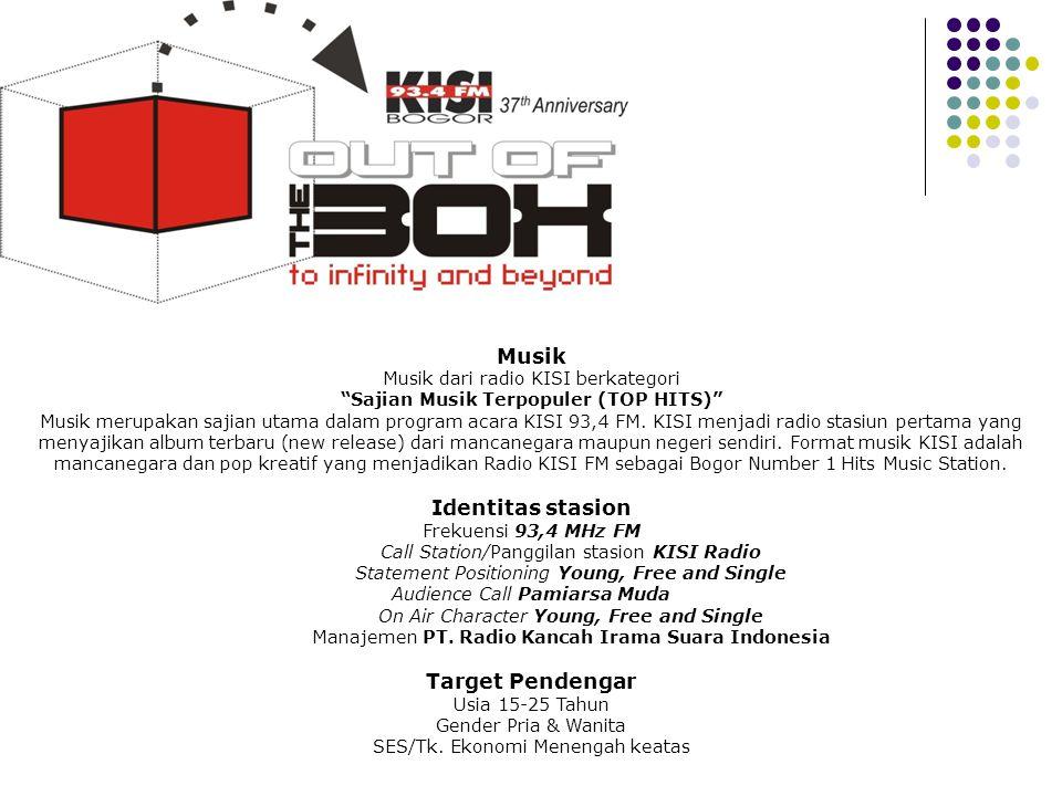 """Profile Musik Musik dari radio KISI berkategori """"Sajian Musik Terpopuler (TOP HITS)"""" Musik merupakan sajian utama dalam program acara KISI 93,4 FM. KI"""