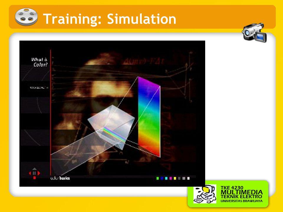 Training •Sejumlah perusahaan memberikan training pada pegawainya dengan materi training berbasis multimedia dalam bentuk simulasi. Misalnya: •Boeing