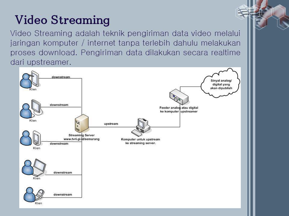 Video Streaming Video Streaming adalah teknik pengiriman data video melalui jaringan komputer / internet tanpa terlebih dahulu melakukan proses download.