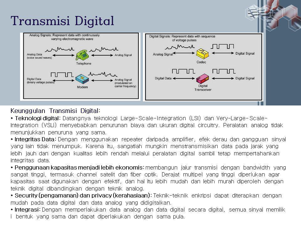 Transmisi Digital Keunggulan Transmisi Digital: • Teknologi digital: Datangnya teknologi Large-Scale-Integration (LSI) dan Very-Large-Scale- Integration (VSLI) menyebabkan penurunan biaya dan ukuran digital circuitry.