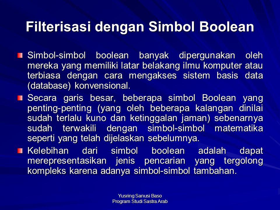 Yusring Sanusi Baso Program Studi Sastra Arab Filterisasi dengan Simbol Boolean Simbol-simbol boolean banyak dipergunakan oleh mereka yang memiliki la