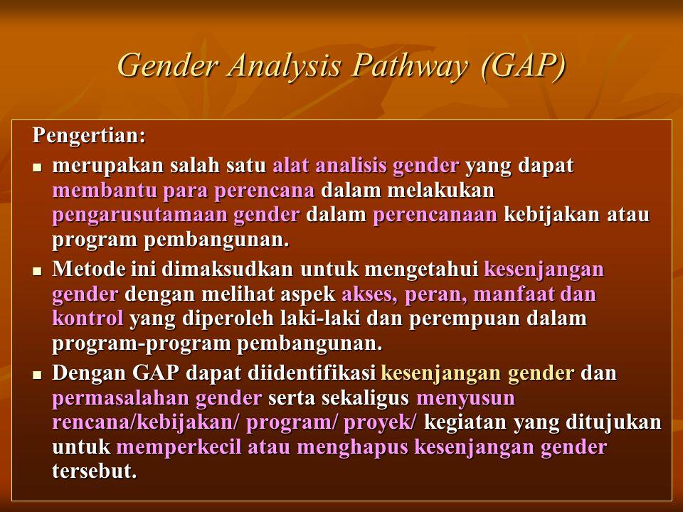16 Gender Analysis Pathway (GAP) Pengertian:  merupakan salah satu alat analisis gender yang dapat membantu para perencana dalam melakukan pengarusut