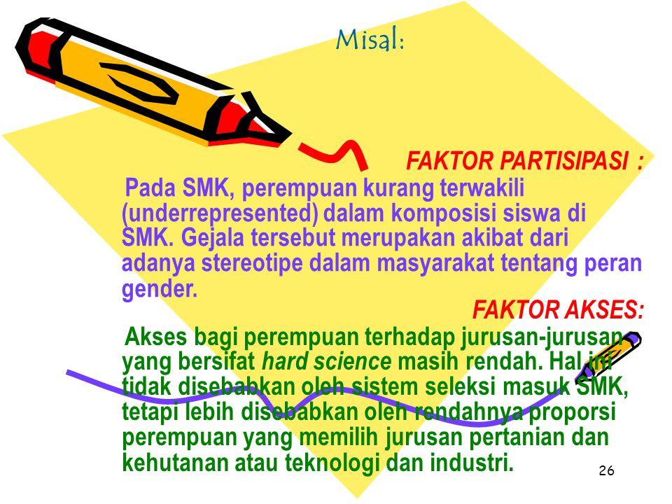 26 Misal: FAKTOR PARTISIPASI : Pada SMK, perempuan kurang terwakili (underrepresented) dalam komposisi siswa di SMK. Gejala tersebut merupakan akibat