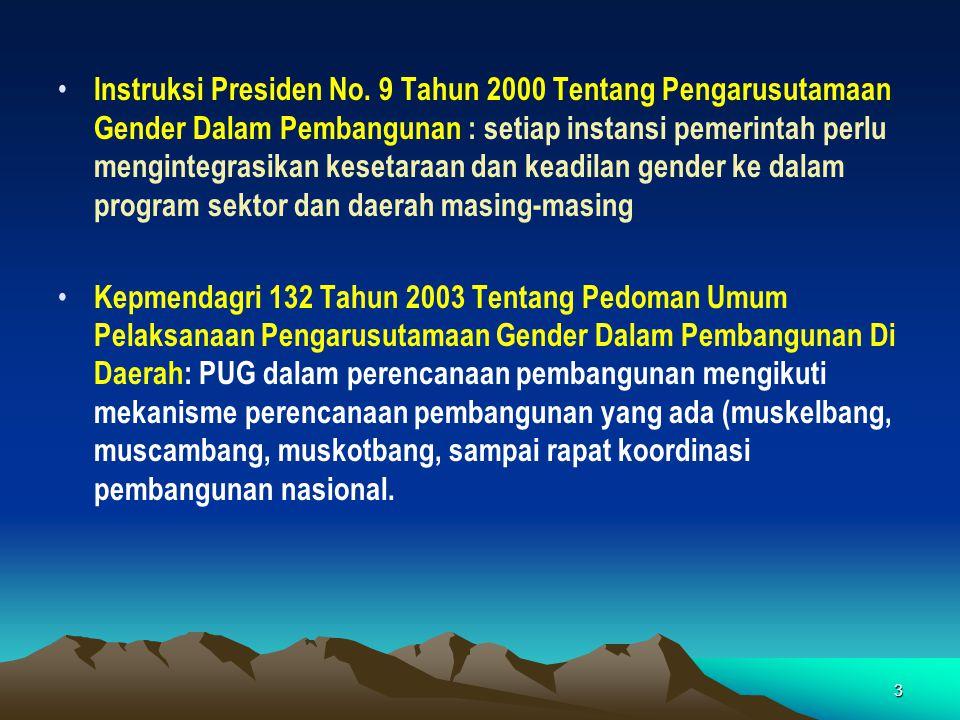 3 • Instruksi Presiden No. 9 Tahun 2000 Tentang Pengarusutamaan Gender Dalam Pembangunan : setiap instansi pemerintah perlu mengintegrasikan kesetaraa