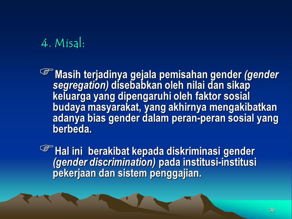30 4. Misal:  Masih terjadinya gejala pemisahan gender (gender segregation) disebabkan oleh nilai dan sikap keluarga yang dipengaruhi oleh faktor sos