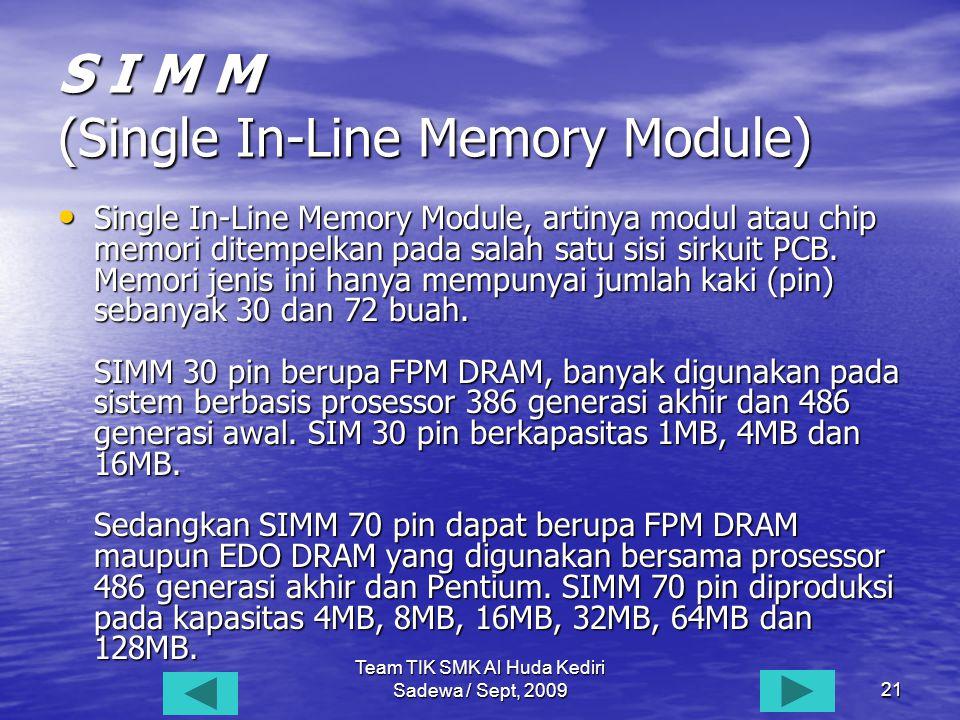 Team TIK SMK Al Huda Kediri Sadewa / Sept, 200921 S I M M (Single In-Line Memory Module) • Single • Single In-Line Memory Module, artinya modul atau chip memori ditempelkan pada salah satu sisi sirkuit PCB.