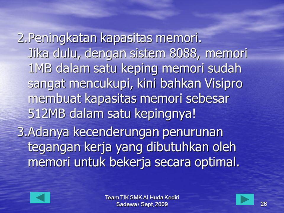 Team TIK SMK Al Huda Kediri Sadewa / Sept, 200926 2.Peningkatan kapasitas memori.