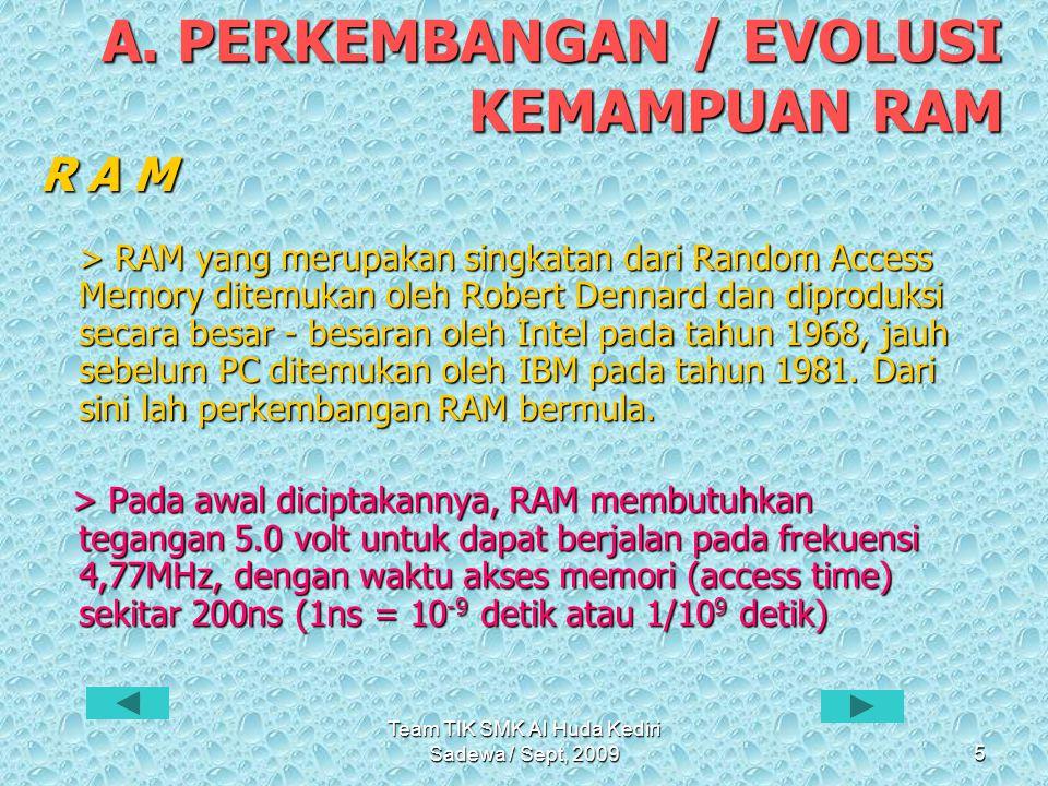 Team TIK SMK Al Huda Kediri Sadewa / Sept, 20096 D R A M ( Dynamic Random Access Memory ) • Pada tahun 1970, IBM menciptakan sebuah memori yang dinamakan DRAM.