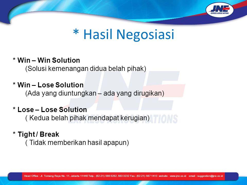 * Hasil Negosiasi Head Office : Jl. Tomang Raya No. 11, Jakarta 11440 Telp.: (62-21) 566 5262, 563 3232 Fax.: (62-21) 567 1413 website : www.jne.co.id