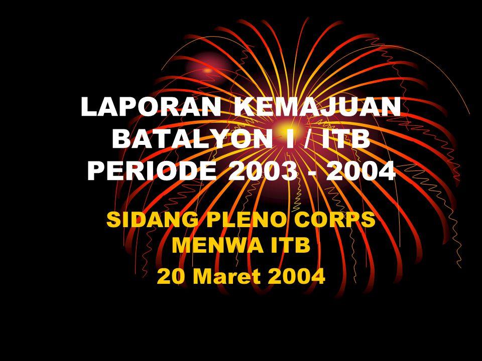 LAPORAN KEMAJUAN BATALYON I / ITB PERIODE 2003 - 2004 SIDANG PLENO CORPS MENWA ITB 20 Maret 2004