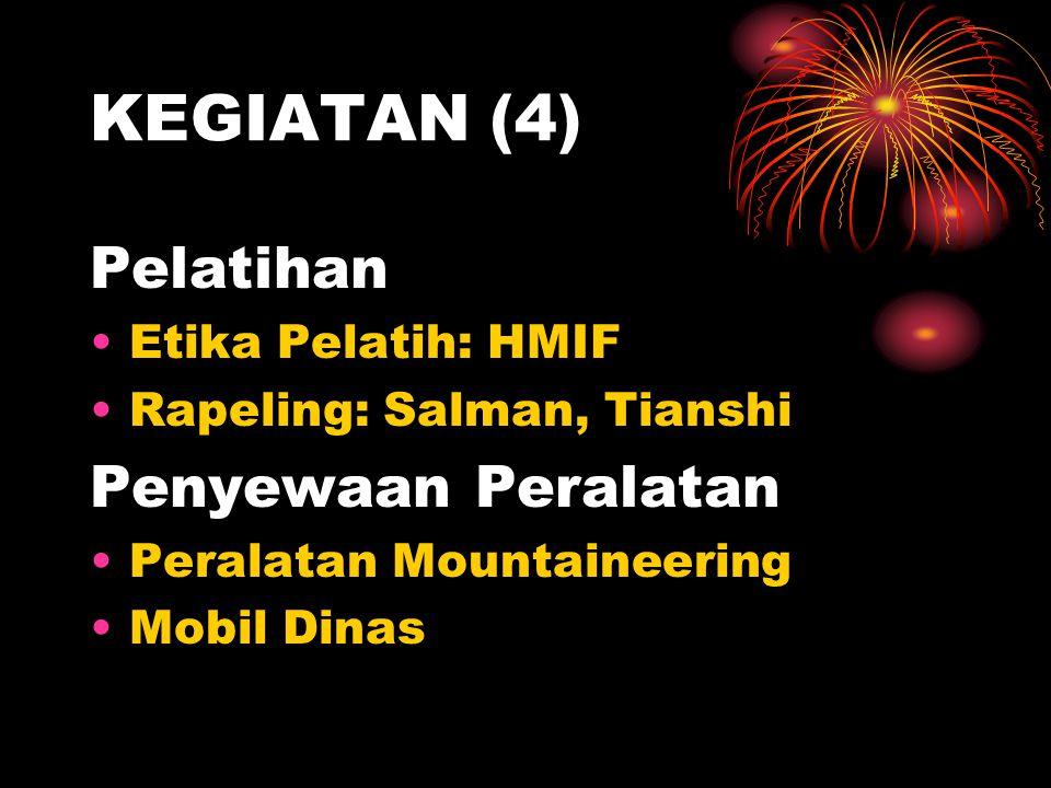 KEGIATAN (4) Pelatihan •Etika Pelatih: HMIF •Rapeling: Salman, Tianshi Penyewaan Peralatan •Peralatan Mountaineering •Mobil Dinas
